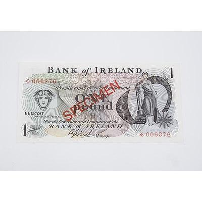 Specimen Star Bank of Ireland One Pound Banknote