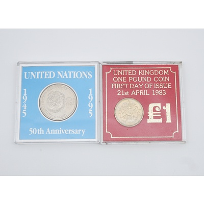 United Kingdom One Pound Coin First Day of Issue and United Nations 50th Anniversary 20 Cent Coin