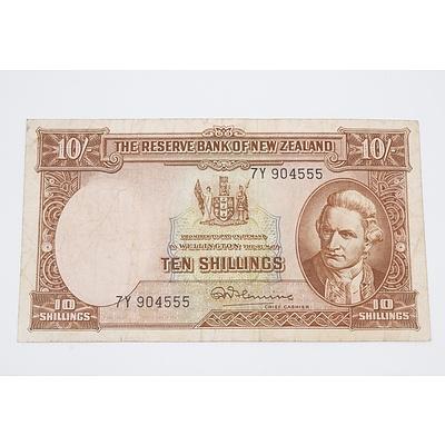 1956 Bank of New Zealand Ten Shillings Banknote