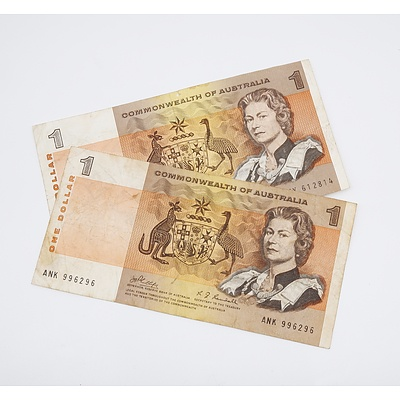 Two 1969 Australian $1.00 Banknotes Phillips/Randall