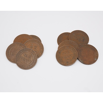 Group of Ten Australian Pennies