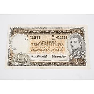 1961 Australian Ten Shillings Banknote Coombs/Wilson