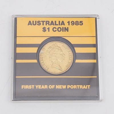 1985 Australian One Dollar Coin First Year of New Portrait
