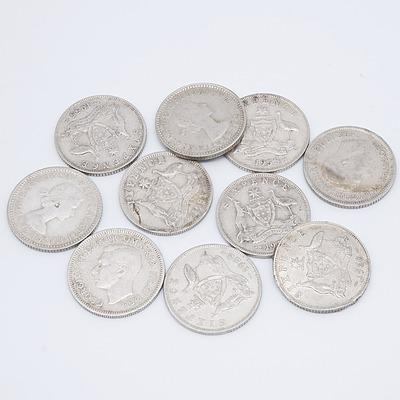 Ten Australian Six Pence Coins
