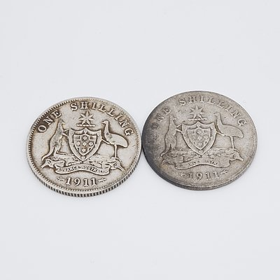 Two 1911 Silver Australian One Shillings