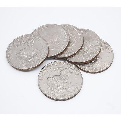Six US Eisenhower $1 Coins, 1972, 1974, 1977, 1978