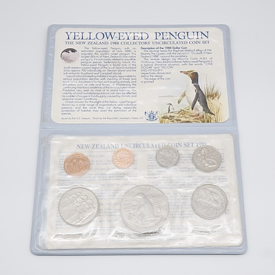 1988 New Zealand Yellow Eyed Penguin 7 Coin Set - Uncirculated