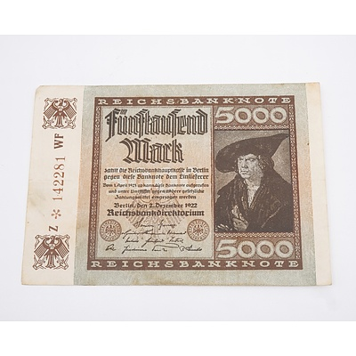 1922 Germany 5,000 Reichsbanknote, with Star