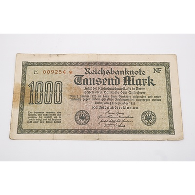 1922 Germany 1,000 Reichsbanknote, with Star