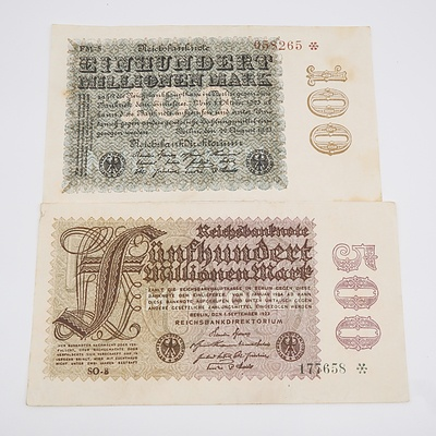 1923 Germany 100 and 500 Reichsbanknote - No Printing on Back