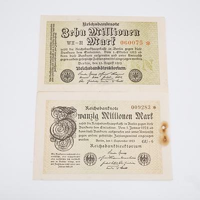 1923 Germany Zehn Millionen and Swanzig Millionen Reichsbanknote - No Printing on Back