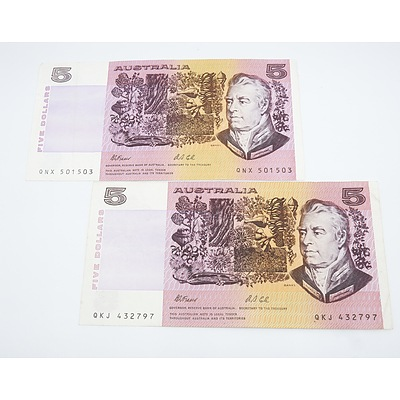 Two 1991 Australia Five Dollar Banknotes Fraser/Cole