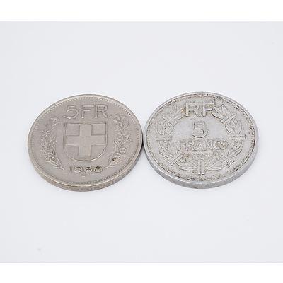 1947 France 5 Franc and 1968 Switzerland 5 Franc