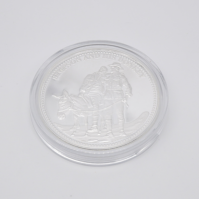 Simpson and His Donkey WWI Silver Proof Commemorative Coin