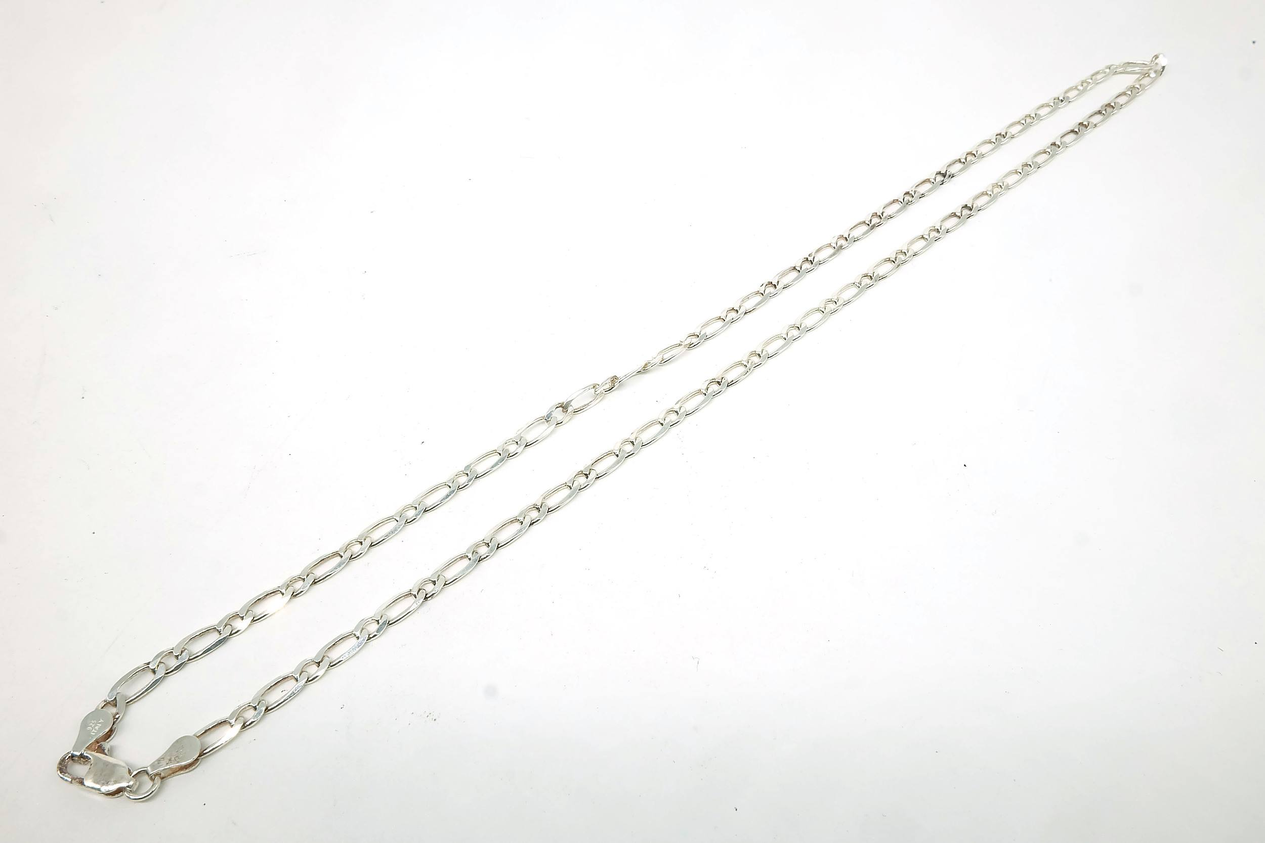 'Sterling Silver Long and Short Curb Link Chain, 10.5g'
