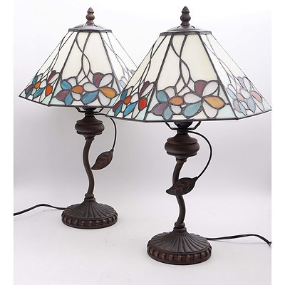 Pair of Modern Tiffany Style Table Lamps