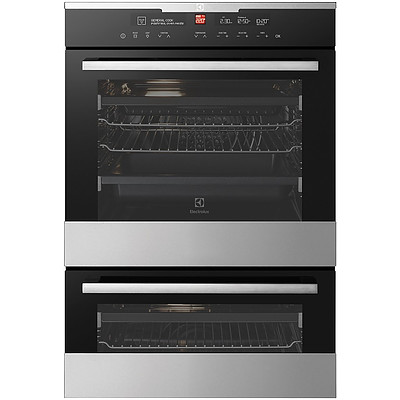 Electrolux EVE626SC 60cm Multi Function Built In Electric Duo Oven with IOI Controller - RRP $1,824 - Brand New