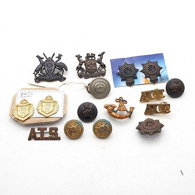 Group of Australian and International Badges and Buttons, including Royal Australian Infantry, Duty and Honour Badges and more
