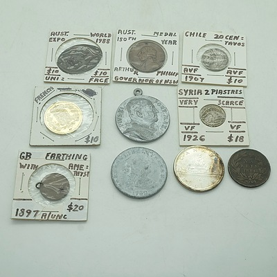 Group of Coins and Tokens, including Victorian Farthing, 1988 World Expo Token and more