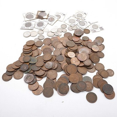 Large Group of Australian Pennies, Half Pennies, Florins, Shillings and more