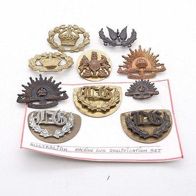 Australian Machine Gun Proficiency Badges, RAAF Wireless Operator Badge, A United Kingdom Badge and More