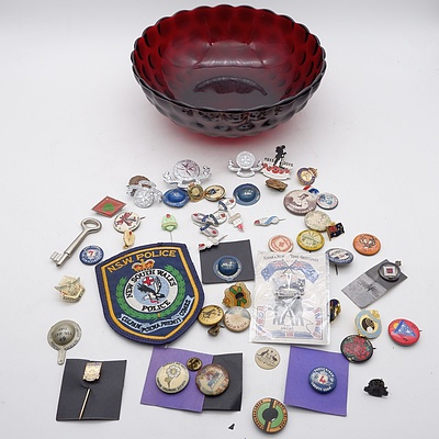 Retro Red Glass Bowl Filled with Antique and Vintage Pins, including Liberty Lone Polio Society, Esso Tiger Club and More