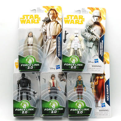 Five Star Wars Force Link 2.0 Figures, Including Luke Skywalker, Maz Kanata, K-2SO, Qi'ra and Range Trooper