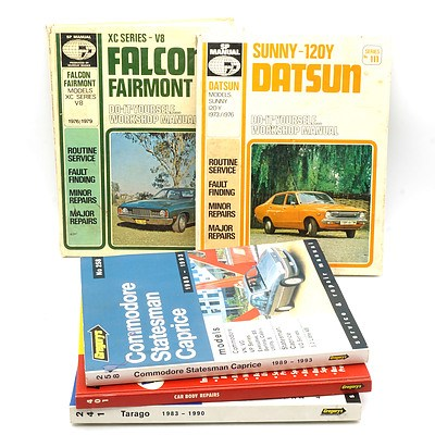 Five Car Manuals, Including XC Series V8 Ford Fairmont and Sunny 120Y Datsun