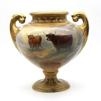 C Cox Hand Painted Crown Devon Highland Cattle Pot Purri