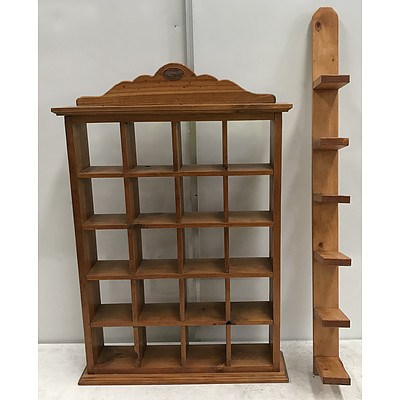 Stained Pine Curio Shelves -Lot Of Two