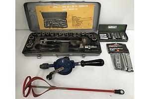 Assorted Tools Including Sockets