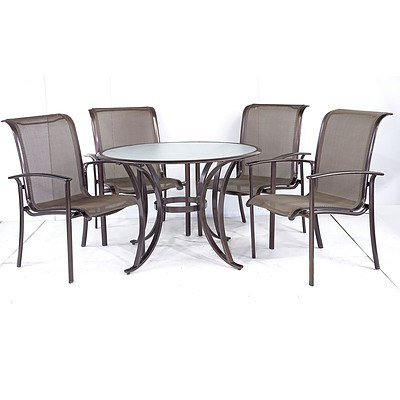 Four-Person Outdoor Glass Table Suite