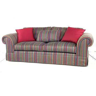 Pair of Moran Three Seater Lounges with Striped Herringbone Upholstery