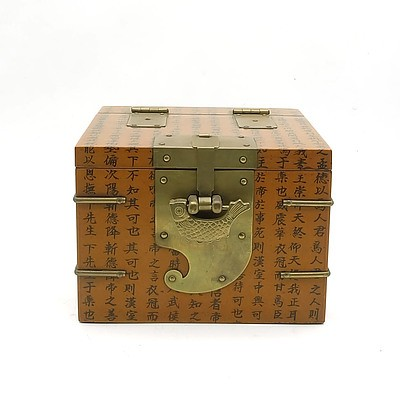 Asian Jewellery Box with Ornamental Lock and Key, Modern