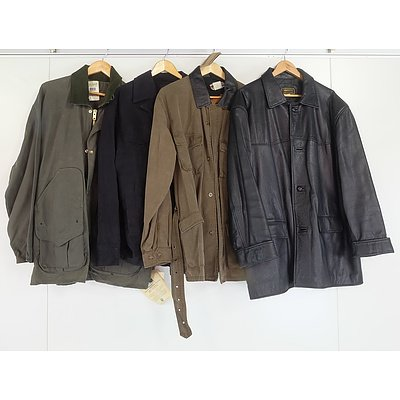 Four XL Men's Jackets Including Siricco Leather Coat and Kakadu Trader's Coat