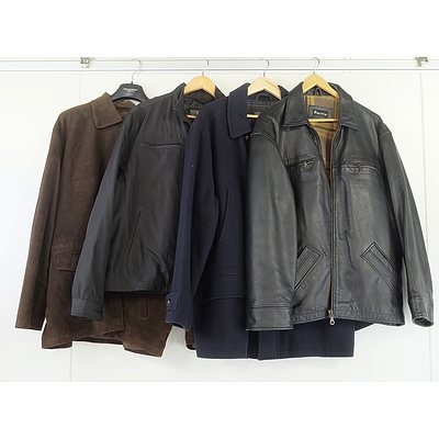 Four Men's XL Jackets Including DiMaggio Leather Coat and Kenneth Cole Reaction Jacket