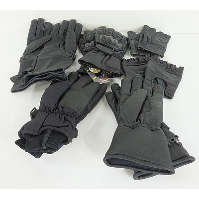Group of Six Paired Black Gloves Including Motorbike and Ski Gloves
