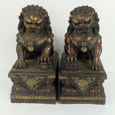 Pair of Chinese Buddhist Lion Temple Guardians, Bronze Patinated Cast Hollow Brass, Modern
