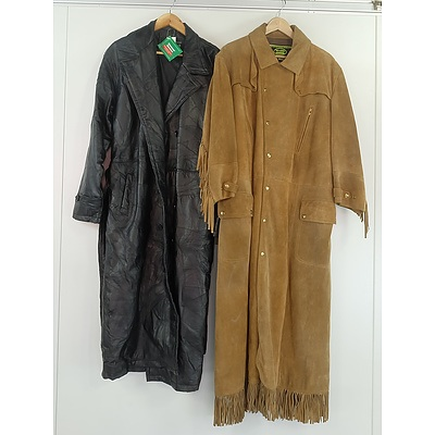 Two Genuine Leather XL Full Length Men's Motorcycle Coats Including Giovanni Navarre and Mars Leathers