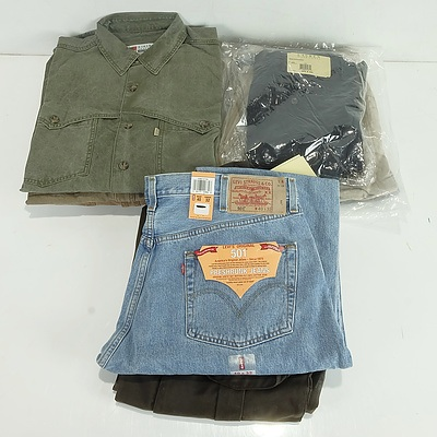 Group of Men's Clothes Including Ralph Lauren and Levi's Trousers and Jeans