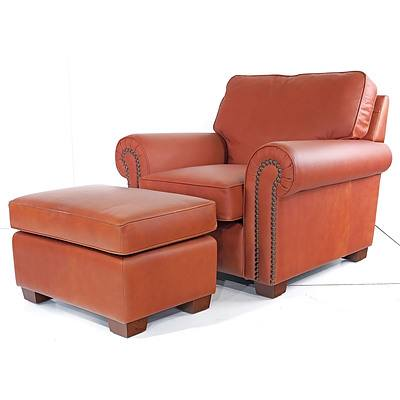 Moran Brown Leather Upholstered Armchair with Footstool