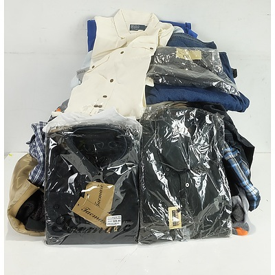 Very Large Group of Assorted Men's XL Clothes Including Ralph Lauren Polo and Dress Shirts and One Small Suitcase