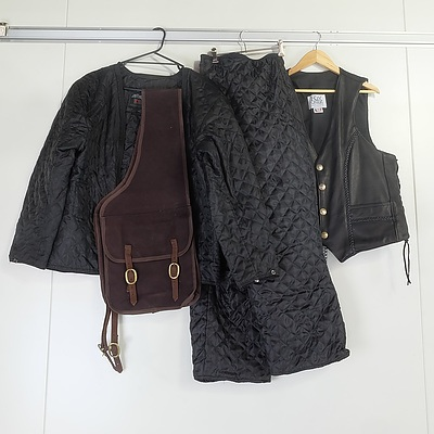 Men's XL Motorbike Insulative Outfit Including Leather Vest and Saddlebags