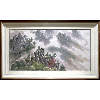 Very Large Korean Limestone Mountain Painting, Ink and Colour on Paper