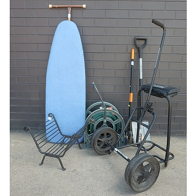 Assorted Group of Outdoor and Garden Equipment Including Ironing Board, Golf Caddy and More