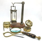 Compilation of Gentlemen's Effects Including Magnifying Glass and Hour Glass with Holder