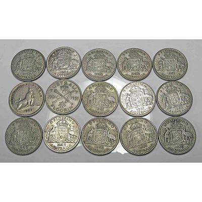 Australia Silver Florins 1946-1963 (X15)