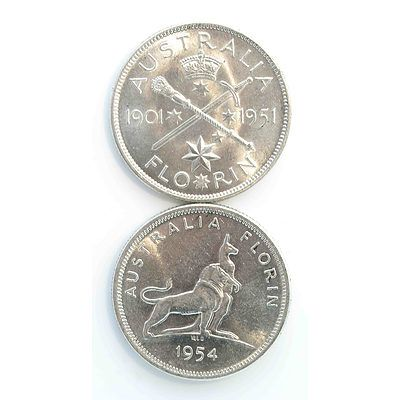 Australia Silver Commemorative Florins - Royal Visit 1954, Federation 1951