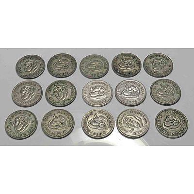 Australia Silver Shillings 1946-1963 (X15)
