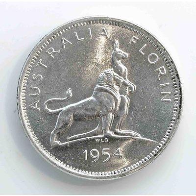 Australia Silver Royal Visit Florin 1954